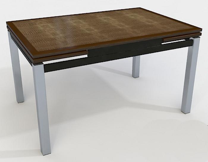 Стол раскладной стеклянный Даласи (коричневый кожзам)