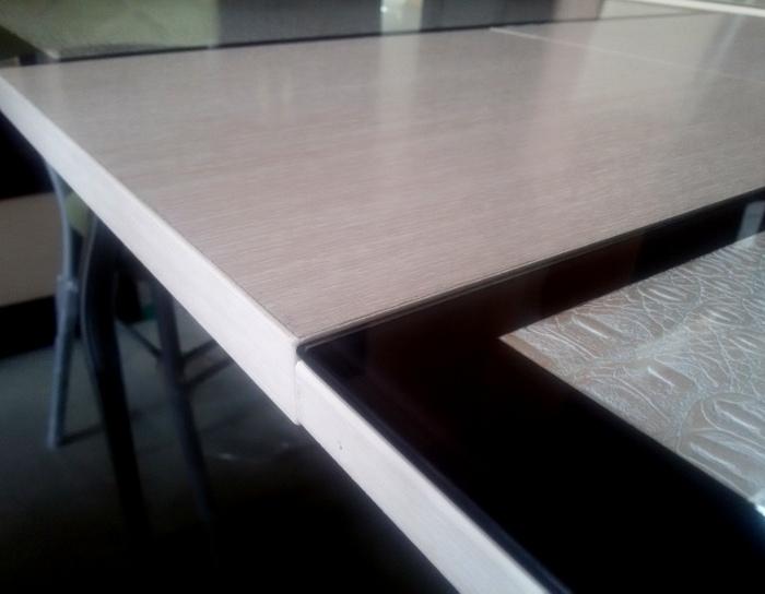 Стол раскладной стеклянный Ницца кожзам