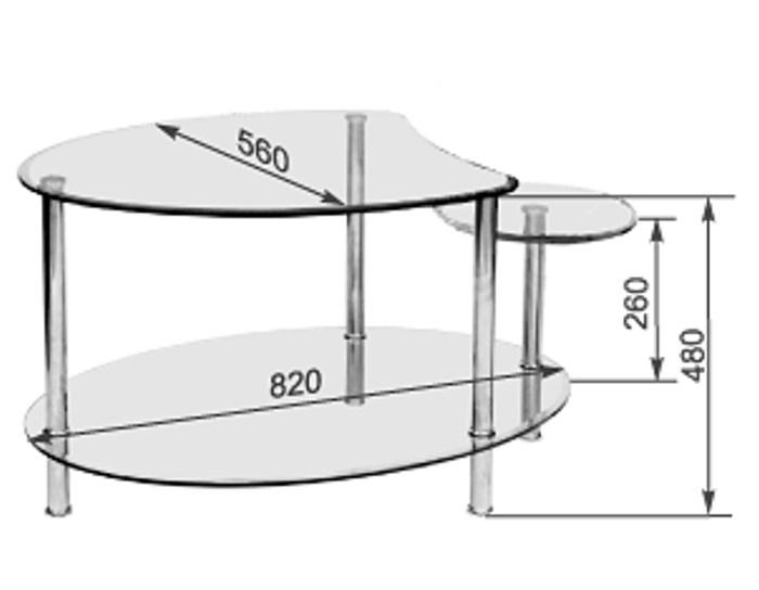 Журнальный стеклянный стол Фристайл-3