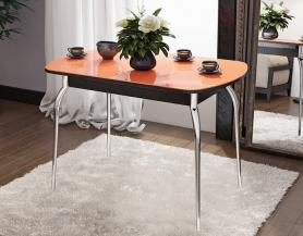 Стол раскладной стеклянный Милан оранжевый