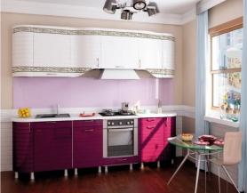 Кухня Анастасия тип 3 (белая/ежевика)