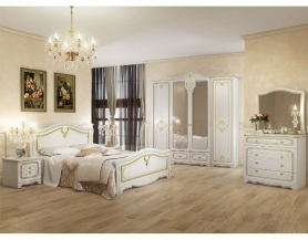 Модульная спальня Палермо белый патина золото